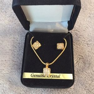 Jewelry - Genuine Crystal Choker Necklace and Earrings